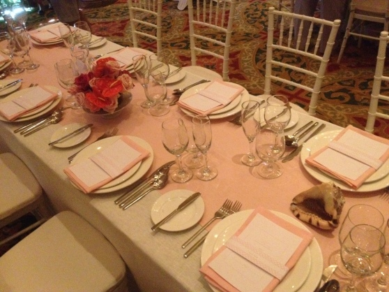 Sandals table styling pink